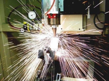 a laser welder in action