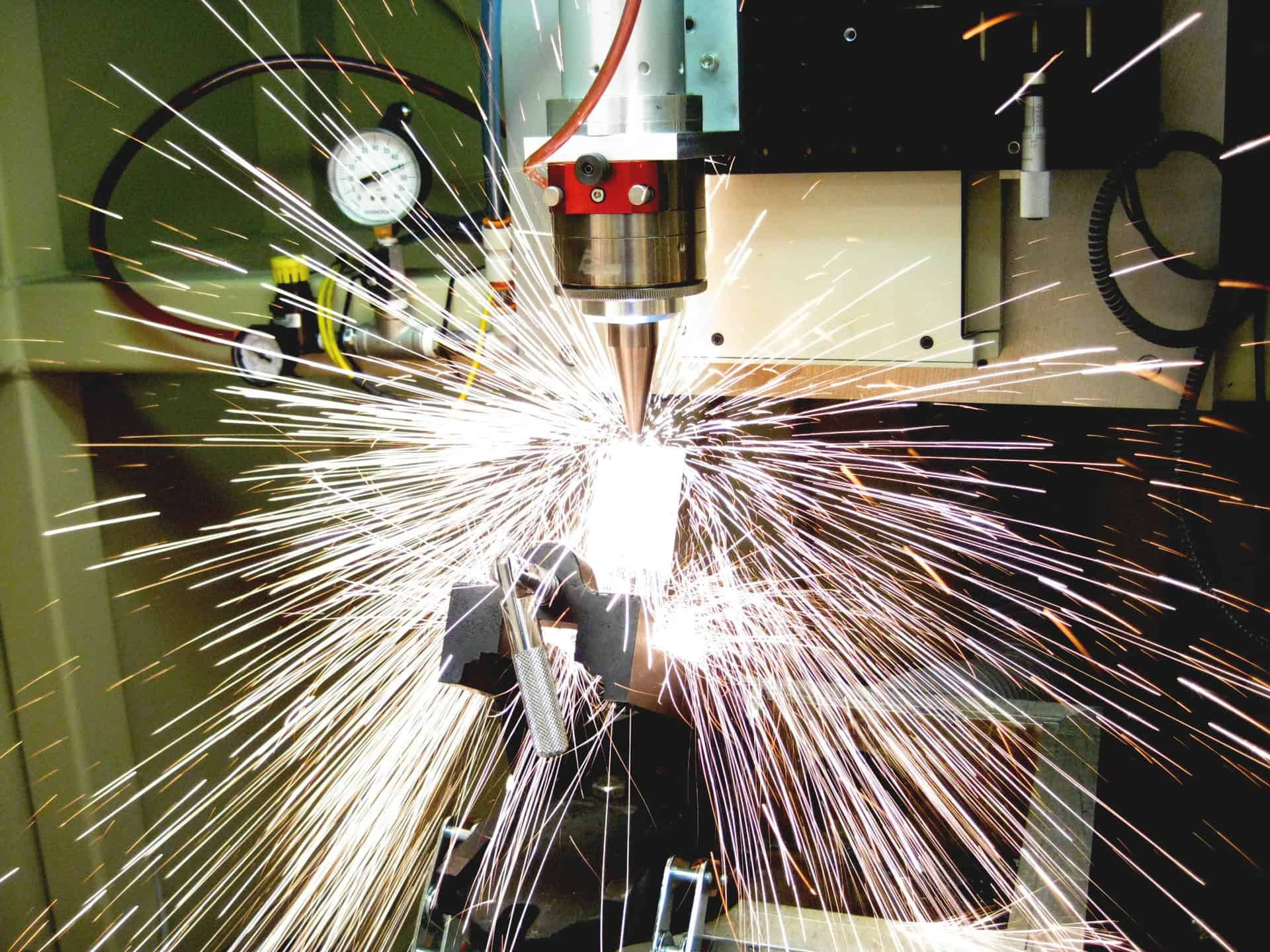 a laser welder in action